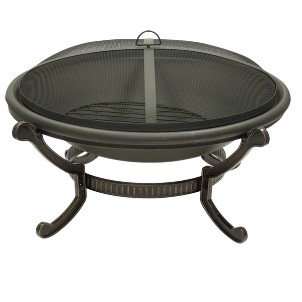 Large Round Cast Iron Bronze Fire Pit with Spark Guard Screen - Black