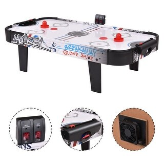 Costway 42''Air Powered Hockey Table Game Room Indoor Sport Electronic Scoring 2 Pushers - black&white