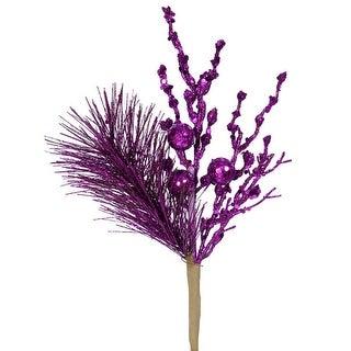 "13"" Sparkling Purple Glittered Ball and Pine Christmas Spray"