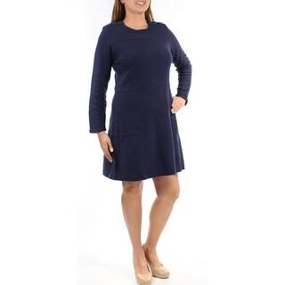 MAISON JULES $100 Womens New 1451 Navy Long Sleeve Jewel Neck Dress L B+B