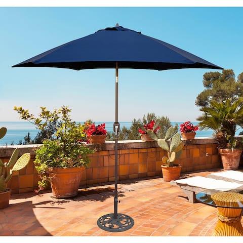 Tropishade 9 ft. Aluminum Bronze Patio Umbrella with Navy Cover