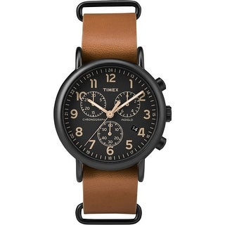 Timex Weekender Chrono Oversized Watch - Black Dial/Brown Strap