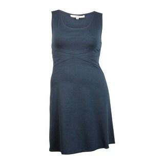 Studio M Women's Seamed Sleeveless Flare Dress - heather sapphire