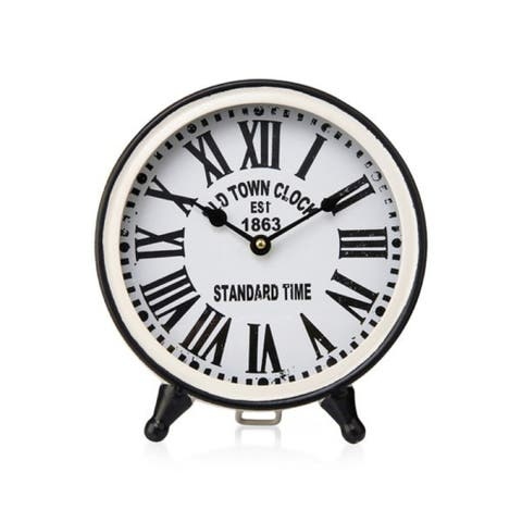 """9.45"""" Black and White Rounded Otto Table Clock"""