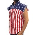 Men's Biker USA Flag Sleeveless Denim Shirt Skull W/ Crossed Bones Stars/Stripes - Thumbnail 2