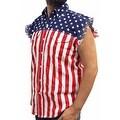 Men's USA Flag Sleeveless Denim Shirt Red White & Bold Biker Stars & Stripes - Thumbnail 2