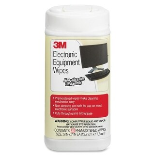 3M CL610 3M Pre-moistened Wipe - Pre-moistened, Anti-static - 75 / Canister - 80 / Each - Aqua