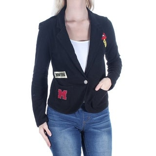 ALMOST FAMOUS Womens New 1250 Black Patches Pocketed Blazer Jacket S Juniors B+B
