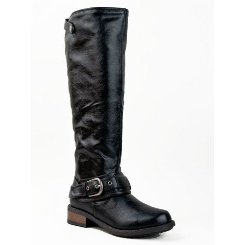 Qupid Relax-39 Basic Casual Knee High Stacked Heel Buckle Riding Boot