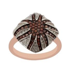 0.57ct Round Brilliant Cut Cognac Color Diamond with Natural Diamond Gigantic Ring