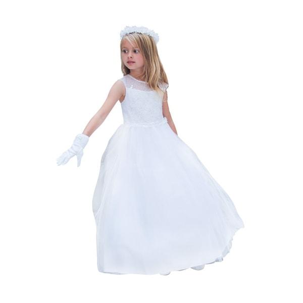 743e483921 Girls White Illusion Neckline Embroidered Junior Bridesmaid Dress