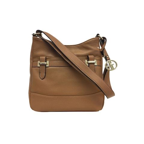 Giani Bernini Pebble Leather Bridle Crossbody Bag Fawn