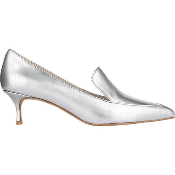 Shop Kenneth Cole New York Women s Shea Kitten Heel Loafer Silver Patent  Leather - Free Shipping Today - Overstock - 19490791 bedc77407bb8