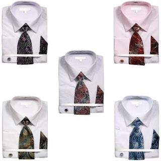 Men's Printed Two Tone Dobby French Cuff Shirt with Tie Handkerchief Cufflinks
