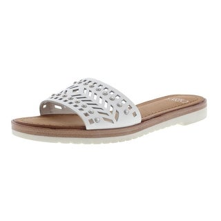 Franco Sarto Womens Maclean 4 Leather Cut-Out Slide Sandals