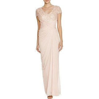 Adrianna Papell Womens Evening Dress Lace Detail Rouched