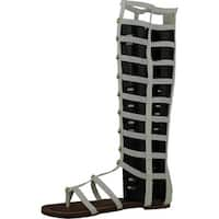 Wild Rose Odelia04  Womens Leatherette Open Toe Studded Knee High Gladiator Sandals