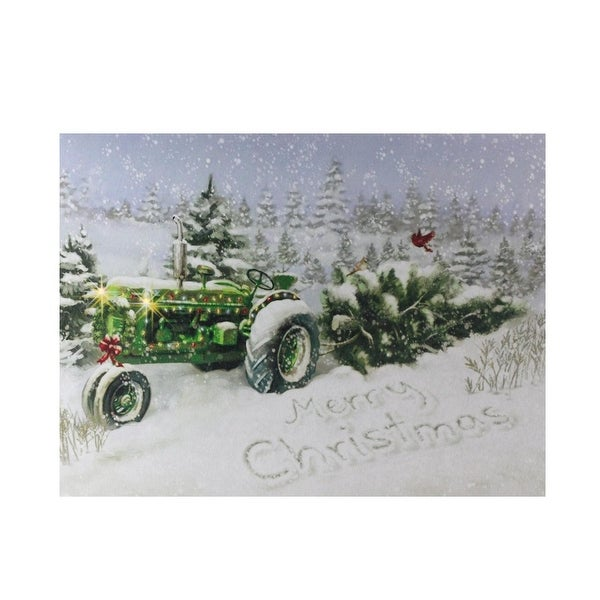 """Fiber Optic and LED Lighted Merry Christmas Tractor Canvas Wall Art 12"""" x 15.75"""" - green"""