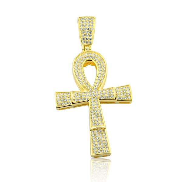 Egyptian Cross Pendant Mens 56mm Tall Yellow Gold-Plated Silver With CZ By MidwestJewellery