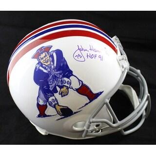 John Hannah Autographed New England Patriots TB Replica Helmet HOF JSA