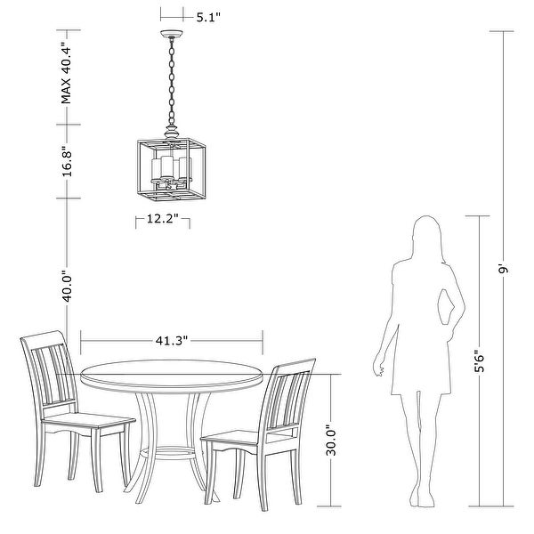 The Gray Barn 4-light Antique Black Lantern Chandelier - 58.3 inches high x 12.2 inches square