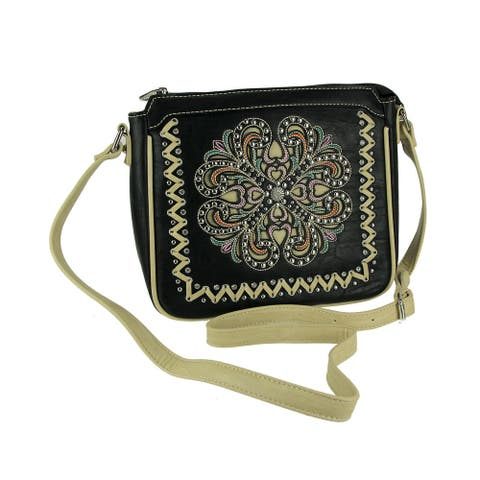 Montana West Concho Collection Floral Embossed Crossbody Purse