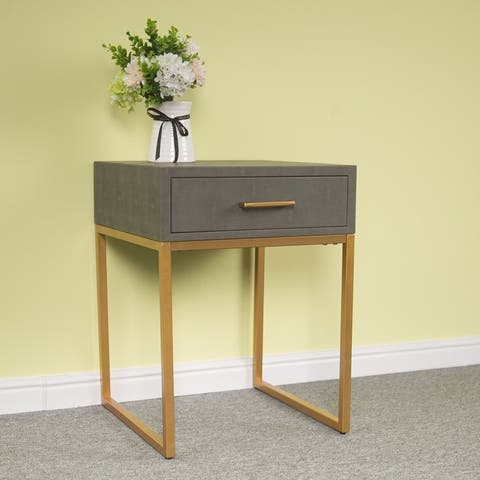 """24"""" Zimtown Leather Drawer Cabinet Gray / Gold"""