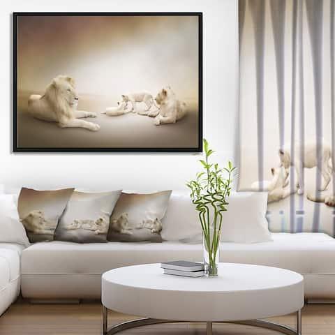 Designart 'White Lion Family' Animal Framed Canvas Wall Art