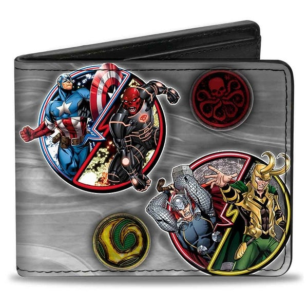 Marvel Avengers Marvel Avengers Superhero Villain Poses Grays Bi Fold Wallet - One Size Fits most
