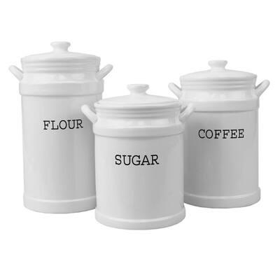 Doric 3 Piece Ceramic Canisters, White