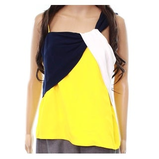 TopShop NEW Yellow Blue Women's Size UK 12 US 8 Colorblock Blouse