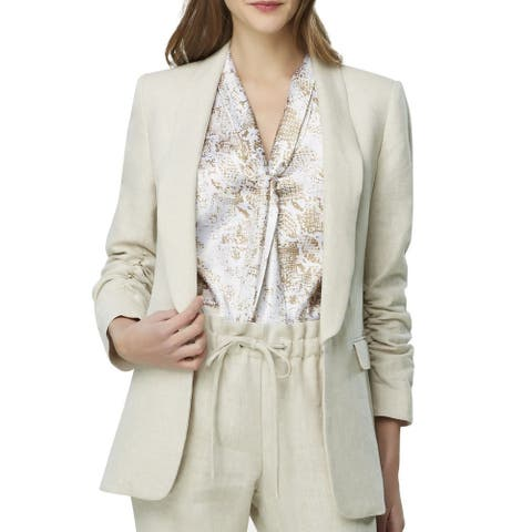 Tahari By ASL Women's Jacket Beige Size 12 Ruched Sleeves Kiss Front