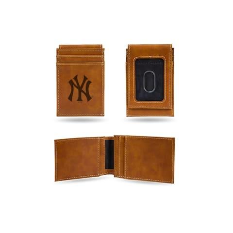 """4"""" Brown MLB New York Yankees Laser Engraved Front Pocket Wallet"""