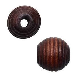 Round Wood Beads, Ribbed Texture 13mm Diameter, 24 Pieces, Dark Brown