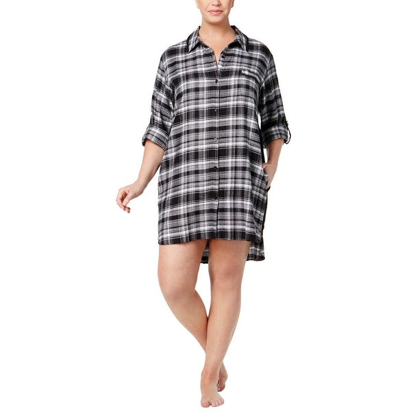 DKNY Womens Black Plus Size Patterned Flannel Boyfriend Sleepshirt 3X 6e07023e0