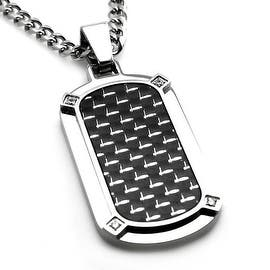 Stainless Steel w/ Carbon Fiber Dog Tag Pendant w/ Four CZ - 24 inches (Option: Green)|https://ak1.ostkcdn.com/images/products/is/images/direct/8f8e210ce68b2d1a813083fe47b6299e1aae0248/Stainless-Steel-w--Carbon-Fiber-Dog-Tag-Pendant-w--Four-CZ---24-inches.jpg?impolicy=medium