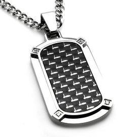 Stainless Steel w/ Carbon Fiber Dog Tag Pendant w/ Four CZ - 24 inches