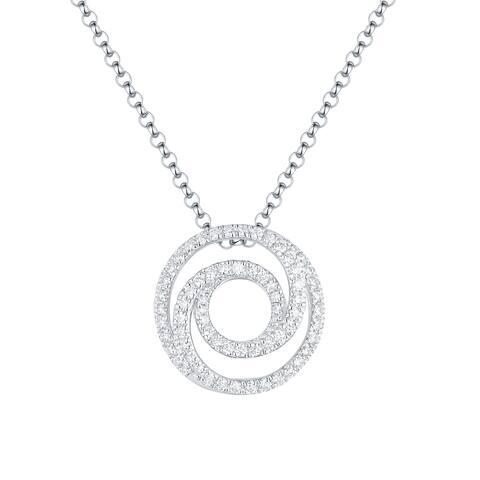 Vedantti 0.35Ct Round G-H/VVS1 Natural Diamond Open Swirls Circle Everyday Wear Pendant - White