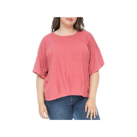 Bobeau Womens Plus Calla T-Shirt Dolman Sleeves Cropped