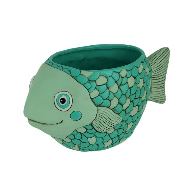 Allen Designs Resin Teal Fish Planter - 4.5 X 9.5 X 4.5 inches