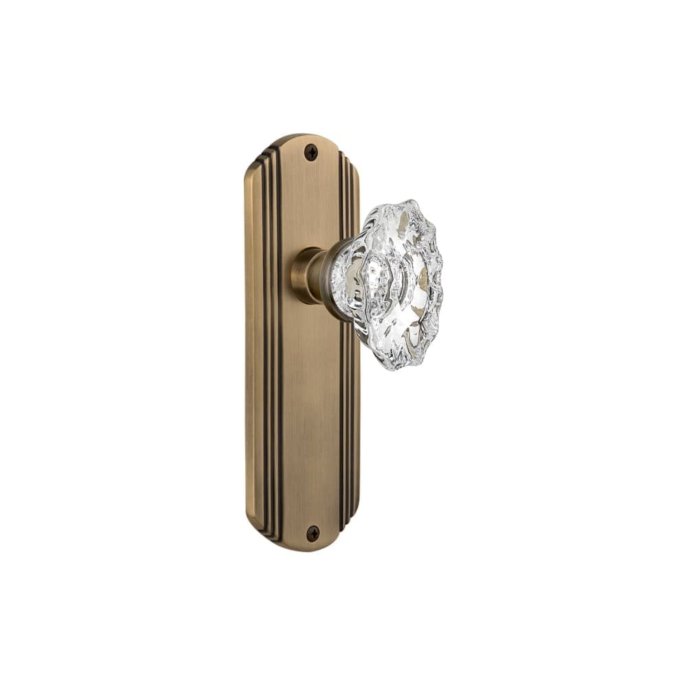 Nostalgic Warehouse DECCHA_PRV_238_NK  Chateau Solid Brass Privacy Knob Set with Deco Rose and 2-3/8 Backset (Bright Chrome)