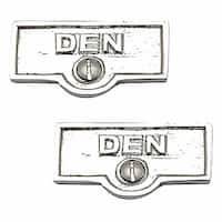 2 Switch Plate Tags DEN Name Signs Labels Chrome Brass | Renovator's Supply