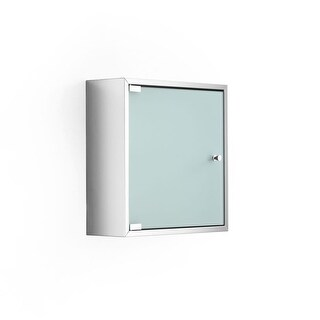 """WS Bath Collections Pika 51570 15.7"""" Single Door Frosted Glass Medicine Cabinet with One Glass Shelf from the Linea Collection"""