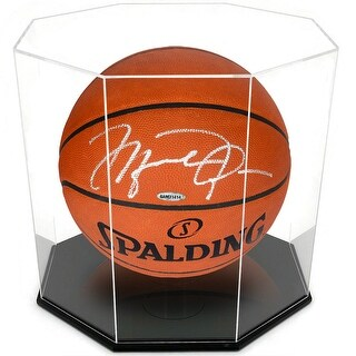 OnDisplay Deluxe Octagon UV-Protected Basketball/Soccer Ball Display Case - Black Base - Standard