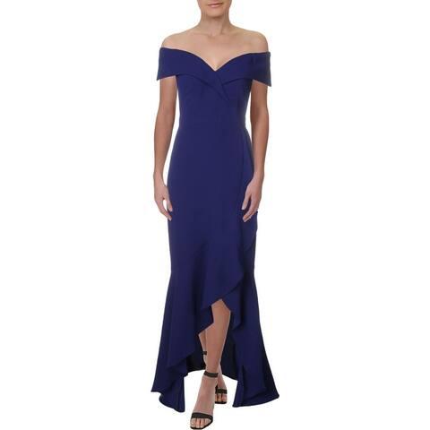 Xscape Womens Evening Dress Knit Ot - Royal