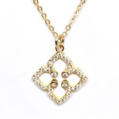 """Julieta Jewelry CZ Clover Gold Charm 16"""" Necklace"""