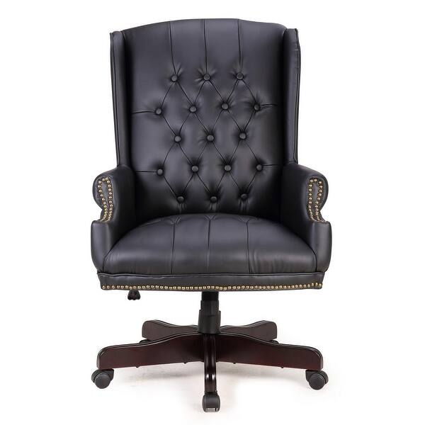 Belleze Executive Classic Wingback Office Chair Traditional Button Tufted Styling With Faux Leather Wood Base Black Overstock 18179370
