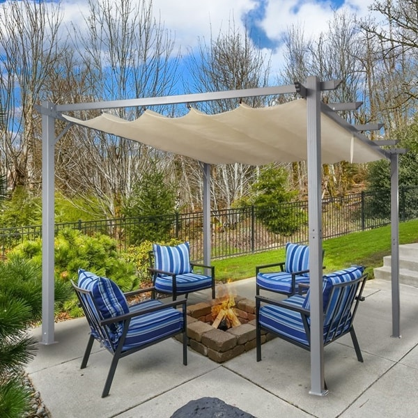 Patio Pergola Flat Hanging KD Tent Retractable Gazebo for Outdoor Garden or Deck