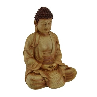 Sitting Meditating Buddha Decorative Faux Carved Wood Look Statue - 9 X 6.5 X 5 inches