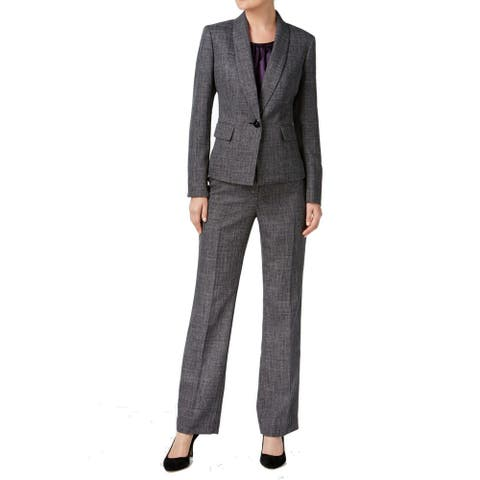 Le Suit Gray Womens Size 12 Shawl-Collar One-Button Pant Suit